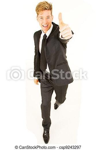 homme affaires, pouce haut - csp9243297