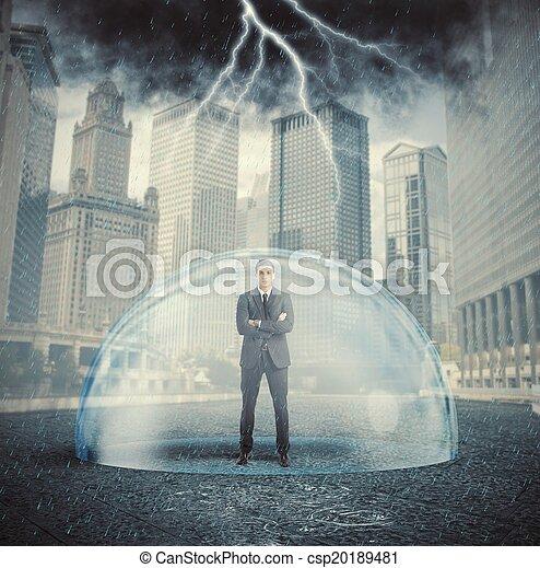 homme affaires, protégé, crise - csp20189481