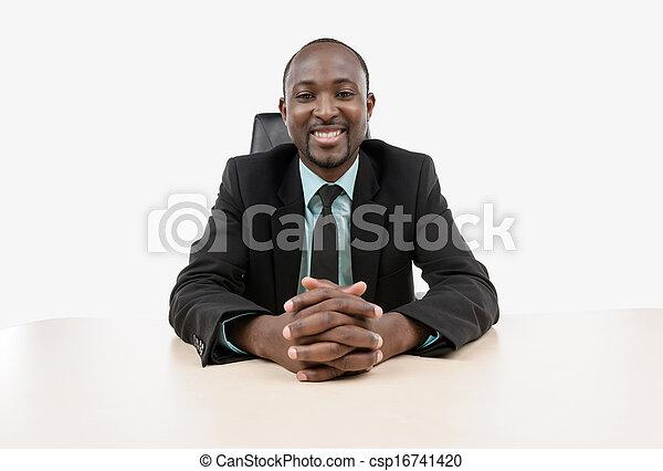 homme affaires, séance, bureau - csp16741420