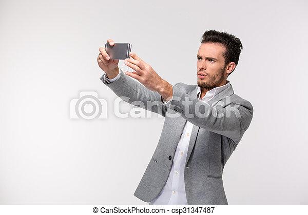 homme affaires, selfie, confection, photo - csp31347487