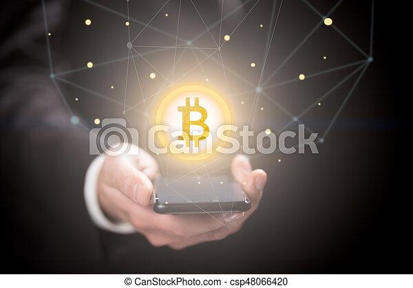 homme affaires, smartphone, signe, bitcoin - csp48066420