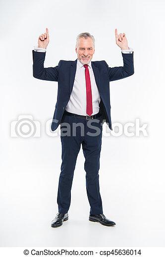 homme affaires, sourire, haut, pointage - csp45636014