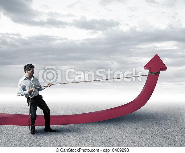 homme affaires, statistiques, changements - csp10409293