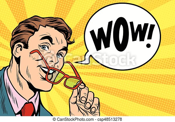 homme affaires, super, intelligent, lunettes - csp48513278