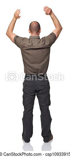 homme, arrière affichage - csp10933915