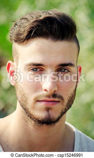 Beau Jeune Homme homme, beau, jeune, headshot, dehors. jeune, headshot, dehors