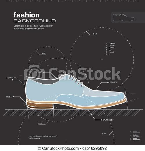 homme, chaussures, vector., design. - csp16295892