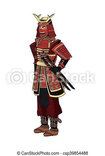 Homme Conception Dessin Anime Samourai Vecteur Homme Comique Samourai Icon Isole Design Dessin Anime Colore Canstock