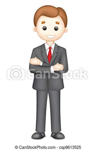 homme, confiant, vecteur, business, 3d - csp9613525