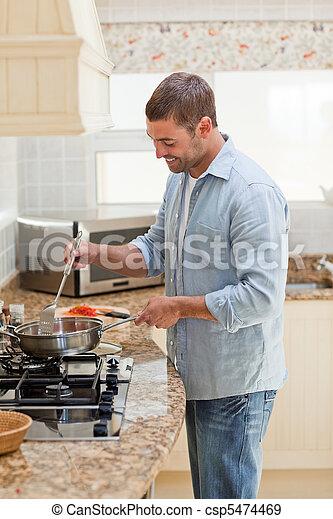 homme, cuisine, cuisine, beau - csp5474469