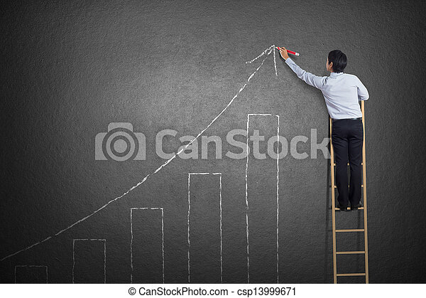 homme, diagramme croissance, business, dessin - csp13999671