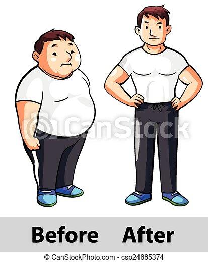 homme, fitness, après, avant - csp24885374