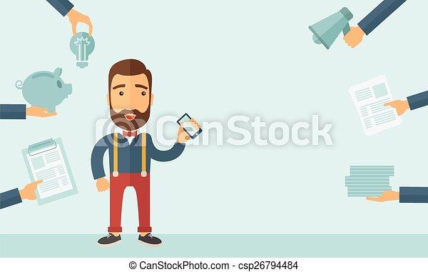 homme, occupé, inquiété - csp26794484