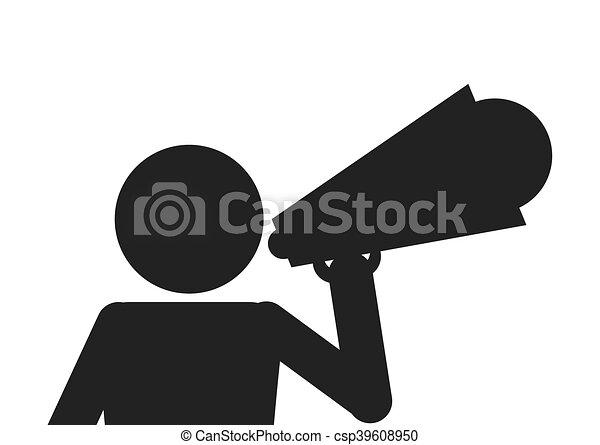 Homme Porte Voix Icône Pictogramme Plat Pictogramme Clipart - Porte voix
