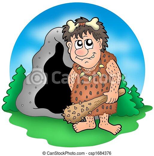 Homme Prehistorique Dessin Anime Caverne Avant Prehistorique