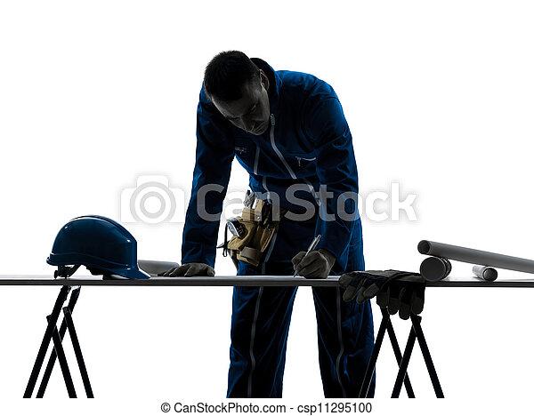 homme, silhouette, architecte, construction - csp11295100