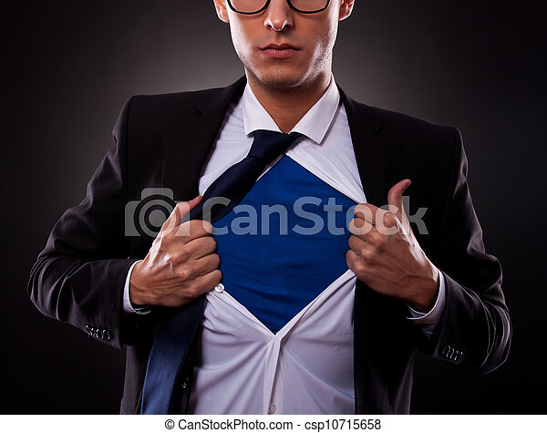 homme, super, tondu, business, vue - csp10715658