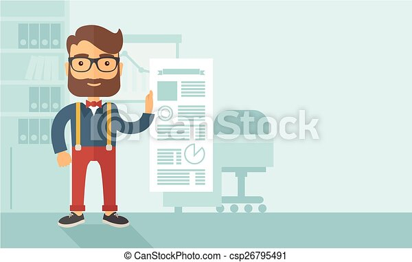 homme, tenue, paper., heureux - csp26795491