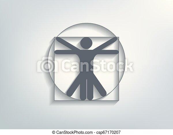 homme, vecteur, vitruvian - csp67170207