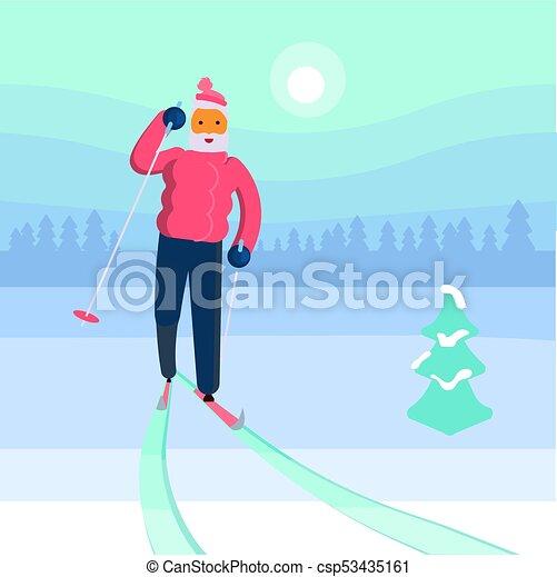 homme, vieux, skieur - csp53435161