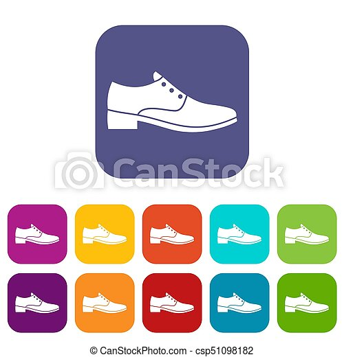 hommes, chaussure, icônes, ensemble - csp51098182