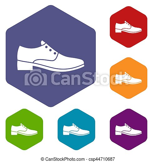 hommes, ensemble, chaussure, icônes - csp44710687