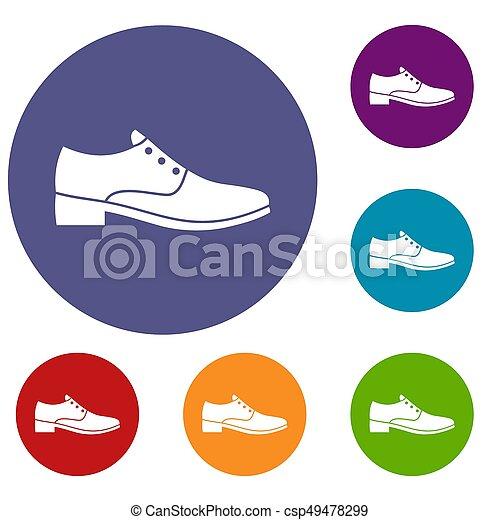 hommes, ensemble, chaussure, icônes - csp49478299