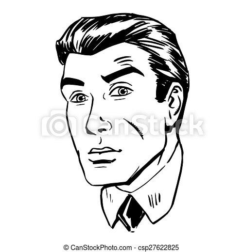 hommes, oeil, incertitude, figure, inquiet, retro, émotif, peur - csp27622825