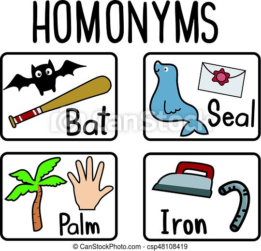Homonyms Flash Cards Education Themed Illustration Featuring Flash