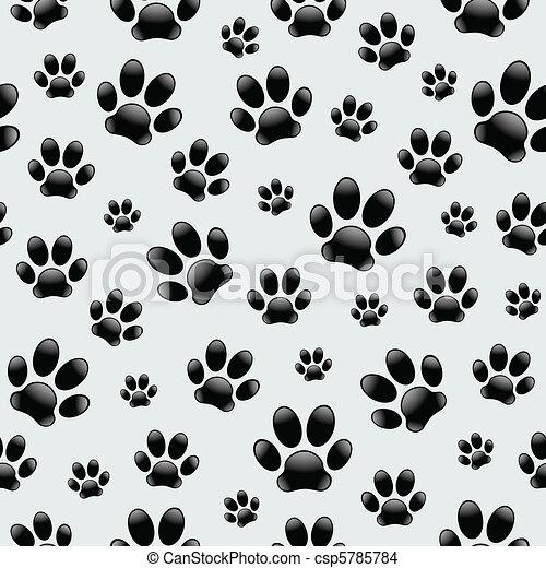 hond, footprints-seamless, model - csp5785784