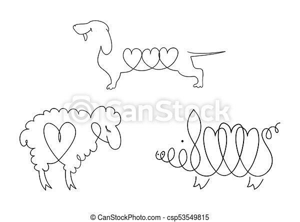 honden, set, dieren, schaap, huiselijk, -, pigs., beelden, lijn - csp53549815
