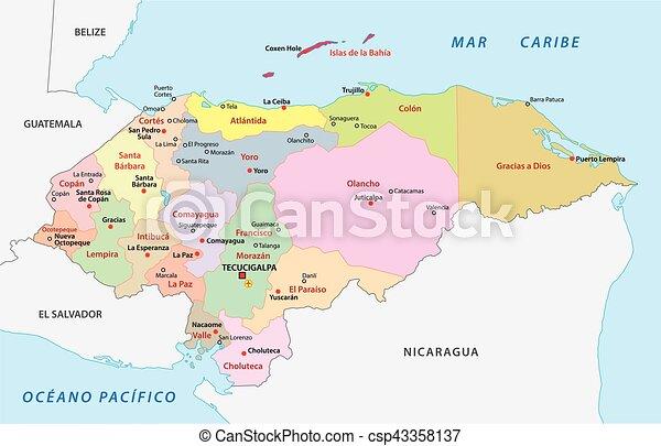 Honduras administrative and political vector map vectors Search