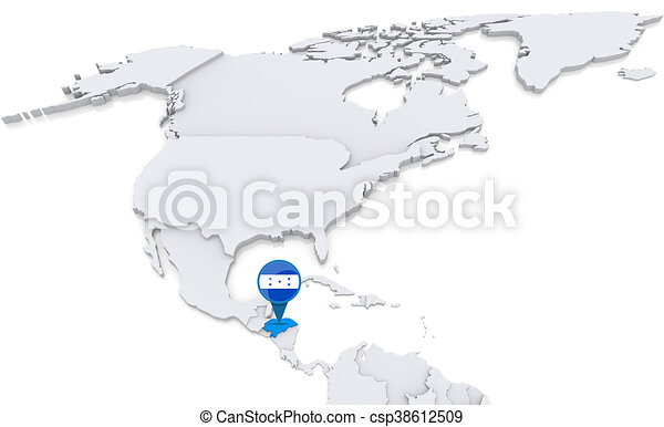 Honduras on a map of north america highlighted honduras on map of honduras on a map of north america csp38612509 gumiabroncs Image collections