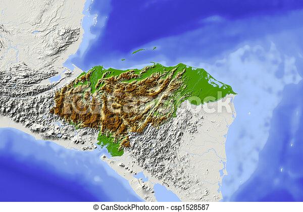 honduras, protegidode la luz, mapa en relieve - csp1528587