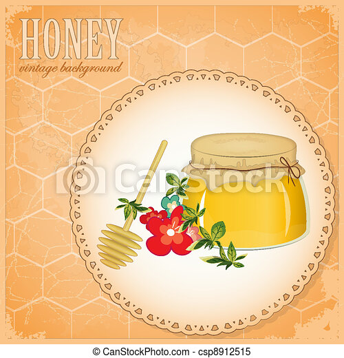 honey and flowers on old paper - csp8912515