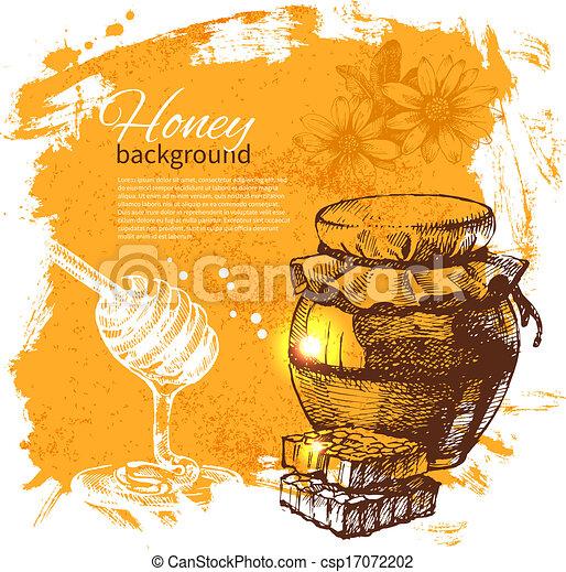 Honey background with hand drawn sketch illustration - csp17072202