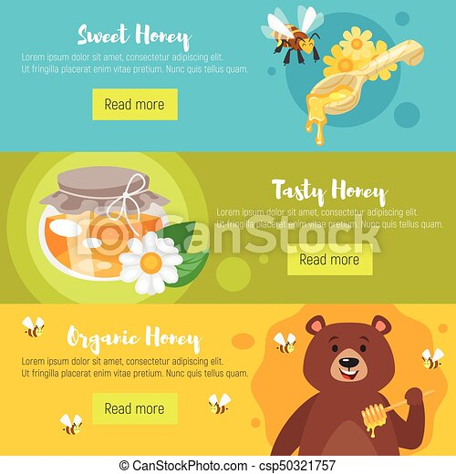 vector cartoon style set of honey banners template flyer honey bee clip art pictures honey bee clip art images free