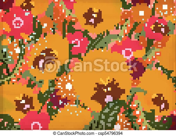 Honey bees and flowers background - csp54796394