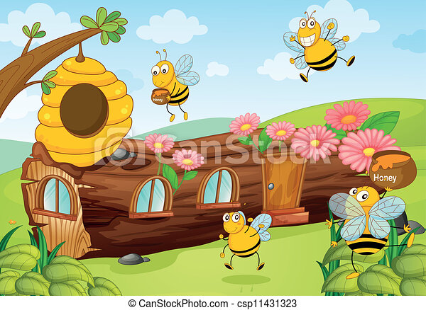 Honey Bees And Wooden House Vector