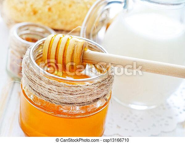 honey, bread and milk - csp13166710