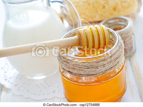 honey, bread and milk - csp12754888