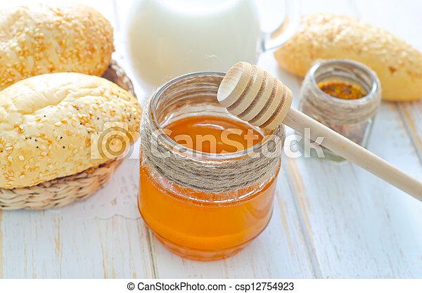 honey, bread and milk - csp12754923