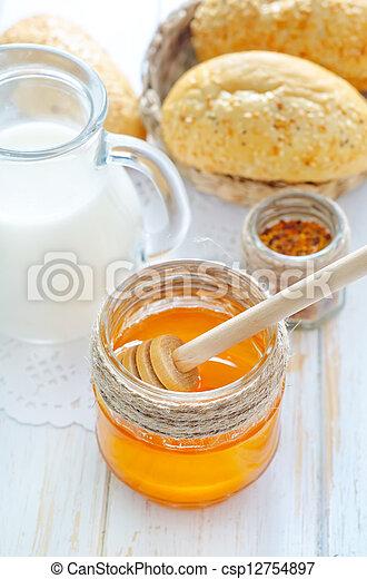 honey, bread and milk - csp12754897