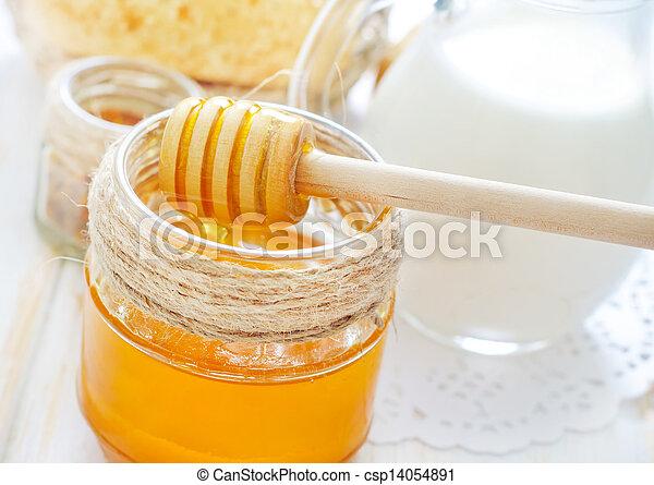 honey, bread and milk - csp14054891