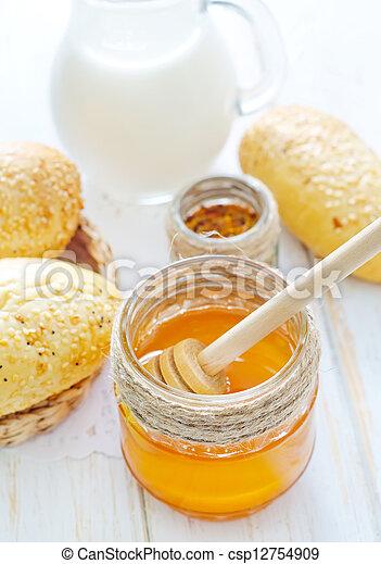 honey, bread and milk - csp12754909