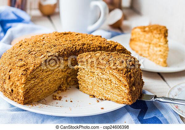 Honey Cake With Cream Shortcakes Impregnation Sweet Dessert Csp24606398