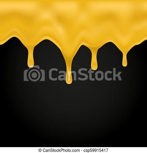 Honey dripping on black background