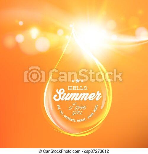 Honey drop over orange space. - csp37273612