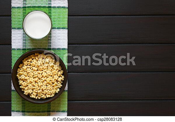 Honey Flavored Breakfast Cereal and Milk - csp28083128
