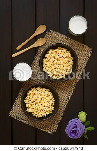Honey Flavored Breakfast Cereal and Milk - csp28647943